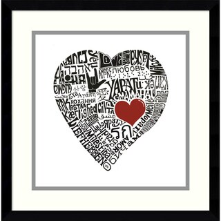 Framed Art Print 'Love in 44 Languages' by L.A. Pop Art 17 x 17-inch