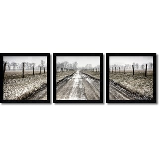 Todd Ridge 'Picket Path Triptych- set of 3' Framed Art Print 13 x 13-inch Each