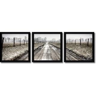 Todd Ridge 'Picket Path Triptych- set of 3' Framed Art Print 13 x 13-inch Each