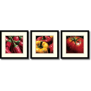 Alma'Ch 'Vegetable- set of 3' Framed Art Print 15 x 15-inch Each