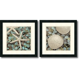 Alan Blaustein 'Aquatic- set of 2' Framed Art Print 18 x 18-inch Each