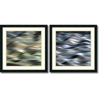 J.P. Clive 'Undulation- set of 2' Framed Art Print 24 x 24-inch Each