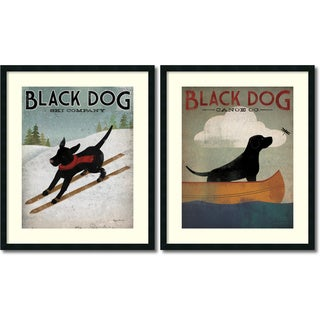Ryan Fowler 'Black Dog- set of 2' Framed Art Print 30 x 36-inch Each