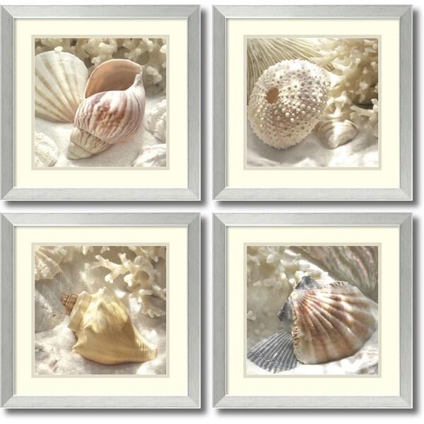 shop framed art print 39 coral shell set of 4 39 by donna geissler 18 x 18 inch each free. Black Bedroom Furniture Sets. Home Design Ideas
