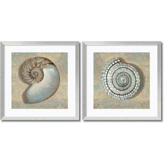 Caroline Kelly 'Aqua Shells- set of 2' Framed Art Print 27 x 27-inch Each
