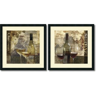 Keith Mallett 'Chardonnay & Shiraz- set of 2' Framed Art Print 25 x 25-inch Each