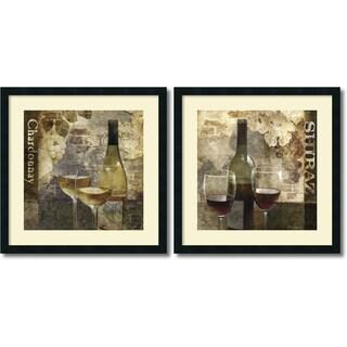 Framed Art Print 'Chardonnay & Shiraz - set of 2' by Keith Mallett 25 x 25-inch Each