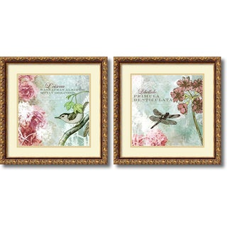 Meringue 'Tiffany Nature- set of 2' Framed Art Print 18 x 18-inch Each