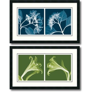 Steven N. Meyers 'Lilies & Hydrangeas (Negative)- set of 2' Framed Art Print 33 x 20-inch Each