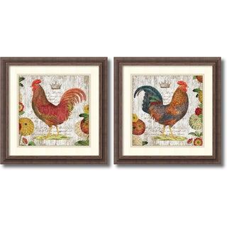 Suzanne Nicoll 'Rooster, rustic frame- set of 2' Framed Art Print 18 x 18-inch Each