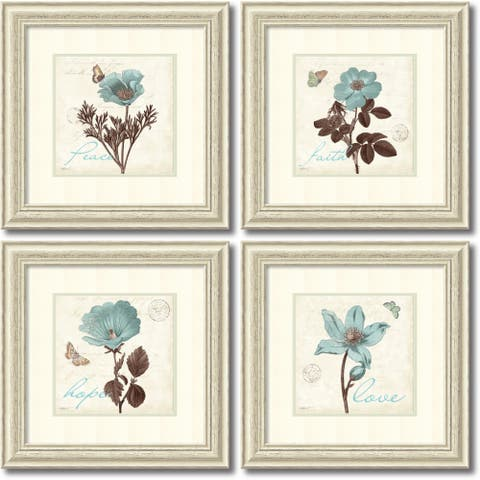 Framed Art Print 'Touch of Blue - set of 4' by Katie Pertiet 23 x 23-inch Each