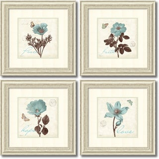 Katie Pertiet 'Touch of Blue- set of 4' Framed Art Print 22 x 22-inch Each