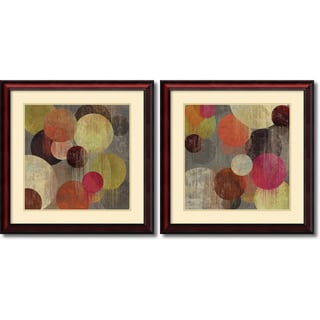 Tom Reeves 'Magenta Bubbles- set of 2' Framed Art Print 26 x 26-inch Each