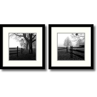 Harold Silverman 'Corner Fence in the Mist- set of 2' Framed Art Print 13 x 13-inch Each