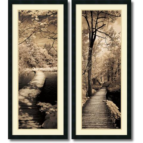 Framed Art Print 'A Quiet Stroll - set of 2' by Ily Szilagyi 18 x 42-inch Each