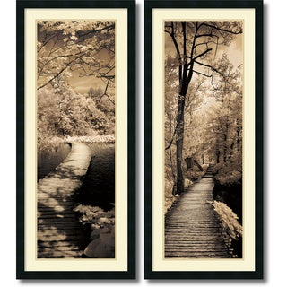 Ily Szilagyi 'A Quiet Stroll- set of 2' Framed Art Print 18 x 42-inch Each