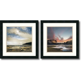 William Vanscoy 'Three Days Gone/Beyond the Sun- set of 2' Framed Art Print 18 x 18-inch Each