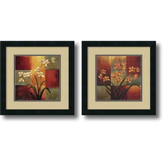 Jill Deveraux 'White Orchid, Orange Orchid- set of 2' Framed Art Print 16 x 16-inch Each