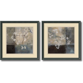 Laurie Maitland 'Spa Blossom- set of 2' Framed Art Print 18 x 18-inch Each