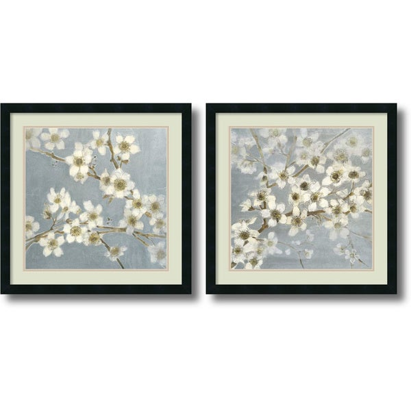 Framed Art Print 'Silver Blossoms - set of 2' by Elise Remender 24 x 24-inch Each