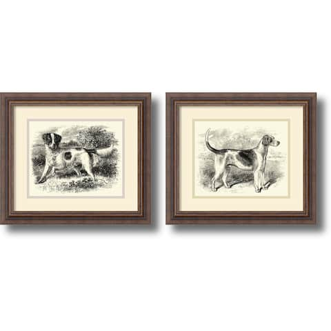 Framed Art Print 'English Setter and Foxhound - set of 2' 17 x 15-inch Each