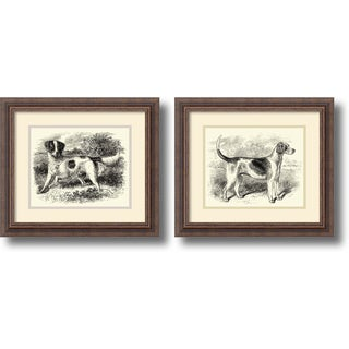 'English Setter and Foxhound- set of 2' Framed Art Print 16 x 14-inch Each