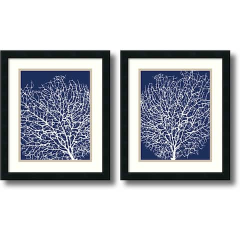 Framed Art Print 'Navy Coral - set of 2' by Sabine Berg 17 x 20-inch Each