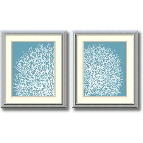Framed Art Print 'Aqua Coral - set of 2' by Sabine Berg 17 x 20-inch Each