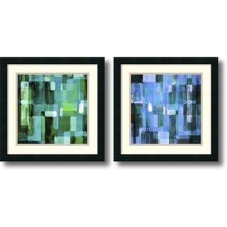 James Burghardt 'Modular Tiles, Cool- set of 2' Framed Art Print 18 x 18-inch Each