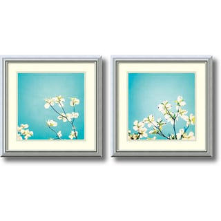 Carolyn Cochrane 'Delicate Skies of Blue- set of 2' Framed Art Print 18 x 18-inch Each