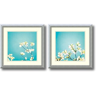 Carolyn Cochrane 'Delicate Skies of Blue- set of 2' Framed Art Print 18 x 18-inch Each