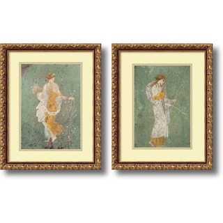 Pompeian 'Primavera & Diana- set of 2' Framed Art Print 15 x 19-inch Each