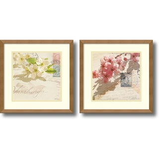 Deborah Schenck 'Vintage Letters and Blossoms- set of 2' Framed Art Print 15 x 15-inch Each