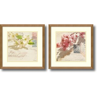 Framed Art Print 'Vintage Letters and Blossoms - set of 2' by Deborah Schenck 15 x 15-inch Each
