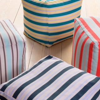 Stripped Outdoor/ Indoor Decorative Cube Pouf