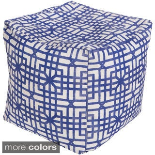 Geometric Blue Outdoor/ Indoor Decorative Cube Pouf