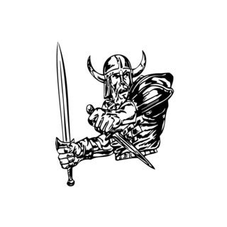 Viking with Sword and Knife Vinyl Wall Art