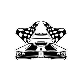 Checkered Flag Race Car Vinyl Wall Art