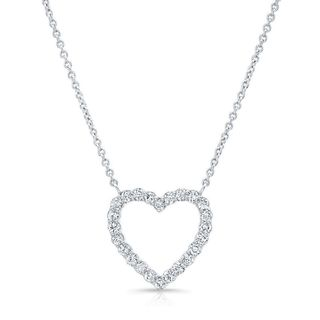 Platinum over Silver 1ct TDW Diamond Heart Necklace (H-I, I1-I2)