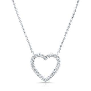 Platinum over Silver 1ct TDW Diamond Heart Necklace (H-I, I1-I2)