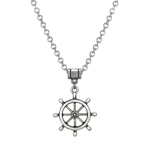 Handmade Jewelry by Dawn Stainless Steel Unisex Ship's Wheel Necklace (USA) - Silver