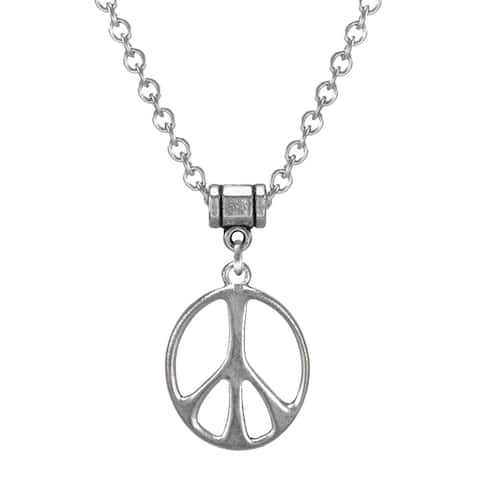 Handmade Jewelry by Dawn Stainless Steel Unisex Peace Sign Necklace (USA)