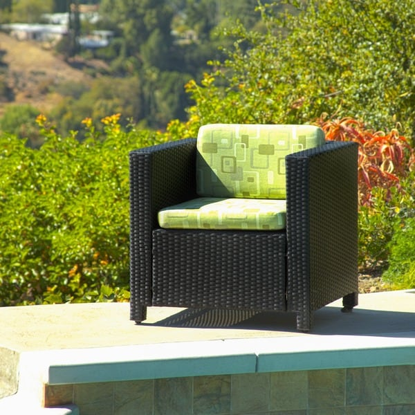Shop Destin Wicker Black Outdoor Chair with Cushion - Free ... on Safavieh Outdoor Living Granton 5 Pc Living Set id=59924