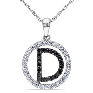 Miadora 14k White Gold 1/2ct TDW Black and White Diamond Letter Necklace (H-I, S1)