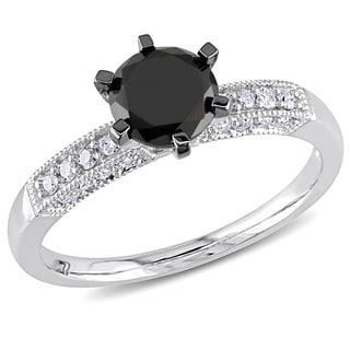 Miadora 10k White Gold 1 1/4ct TDW Black and White Diamond Engagement Ring