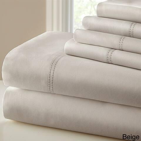 Amraupur Overseas 1000 Thread Count Blend Double Hem Stitch 6-piece Sheet Set
