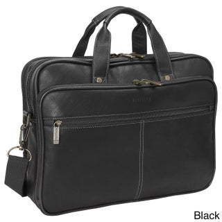Heritage Colombian Leather Double Gusset 15.4-inch Laptop Briefcase (Option: Black)