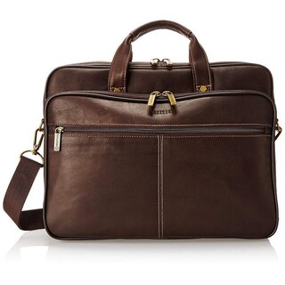 Heritage Travelware Full Grain Colombian Leather Double Compartment 15.6-inch Laptop Business Briefcase