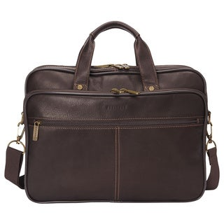 Heritage Travelware Full Grain Colombian Leather Double Compartment 15.4-inch Laptop Business Briefcase