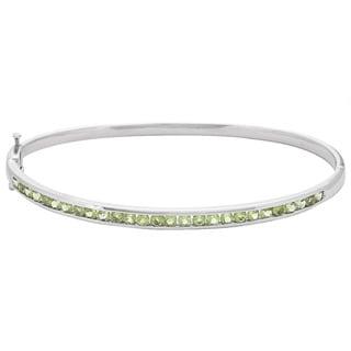 Sterling Silver Genuine Peridot Bangle Bracelet